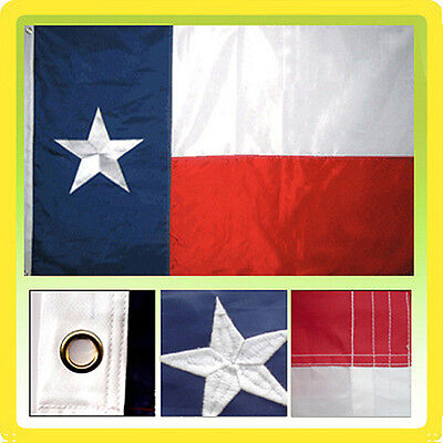 2x3 Ft Texas State Deluxe Nylon Embroidered Star Sewn Stripes TX Lone Star Flag