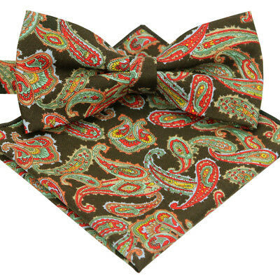 *BRAND NEW* BROWN/&MULTI-COLOR PAISLEY LUXURY COTTON TUXEDO MENS BOW TIE B319
