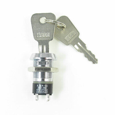 Electric 2 Positions 1NO+1NC Key Lock Switch Silver Tone 4A/125V 2A/250V AC