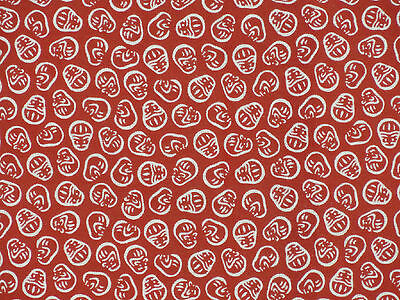 Tenugui Cloth Japanese Cotton Towel Gauze 'Red Daruma Dolls' Morif Fabric