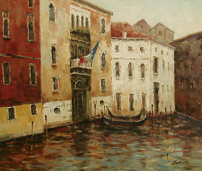 "High Quality Oil Painting of Cityscape Venice Scene Boats on River 20x24"" Canvas"
