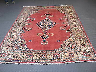 Vintage Semi Antique Persian Sarouk Hand Knotted Wool Rug 7' x 10'