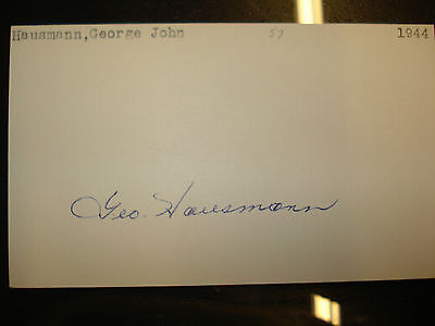 1944 George Hausmann Autograph Index card 3X5 Signed Debut Deceased NY Giants