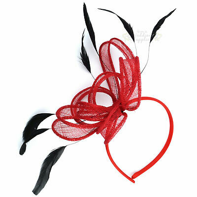 Fascinator Red Headband Hair Feather Accessories Races
