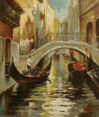 Nice Oil Painting of Cityscape Venice City Scene Man Riding Boat on River 20x24""
