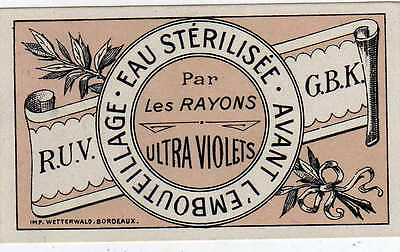 5 Etiquettes Anciennes Eau Sterelisee Rayons Rayons Ultra Violets