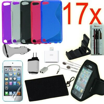 17pcs iPod Touch 5 Accessories Bundle,TPU Case,Armband,Home Car Charger,Earphone