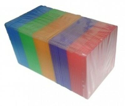 100 SLIM Assorted Color Single VCD PP Poly Cases 5MM