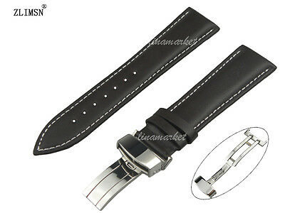 16 18 19 20 21 22 24 26mm BLACK BROWN SMOOTH GENUINE LEATHER Watch Bands Straps