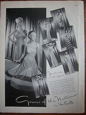 1939 Vintage Van Raalte Womens Gowns of the Nations Lingerie Ad