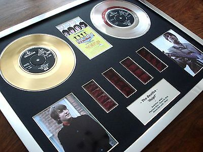 """The Beatles - Help! - 7"""" Gold Platinum Disc Record Film Cell Montage"""