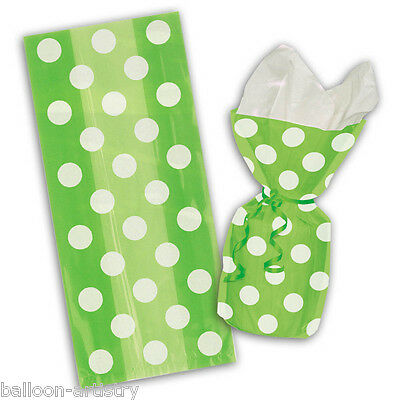 20 Polka Dot Spot GREEN Birthday Treat Loot Gift Party Bags with Twist Ties