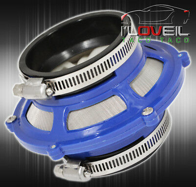 2.5 Inches 63Mm Racing Cold Air Intake Engine Bypass Valve Filter Mount Kit Blue