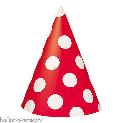 8 RED White Polka Dot Spot Style Party Paper Card Cone Hats