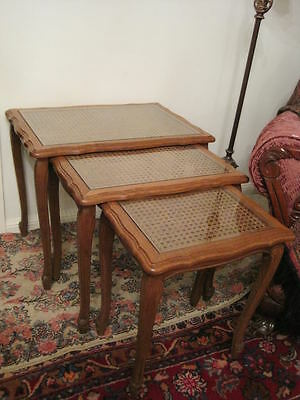 Vintage French Caned Top Set of 3 Solid Oak Nesting Tables Quality Glass Tops