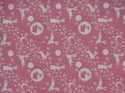Tenugui Towel Cotton Gauze Japanese Fabric 'Pink Rabbits in the Moon'