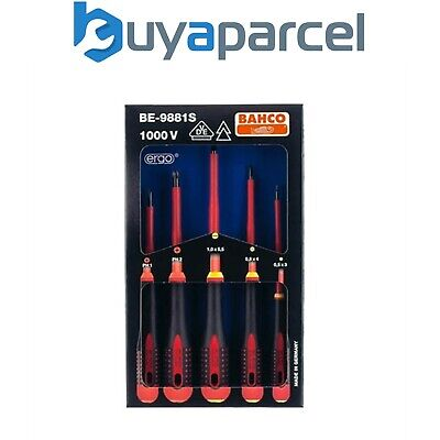 Bahco BE-9881S Ergo Insulated Screwdriver Set 5 Piece Slotted Phillips BAH9881S