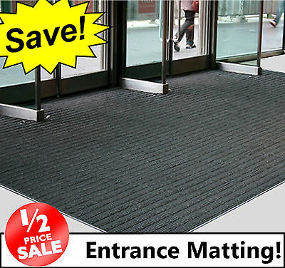 BLACK Coir Entrance Matting! - Ribbed Door Mat / Reception / Doorway Cheap!