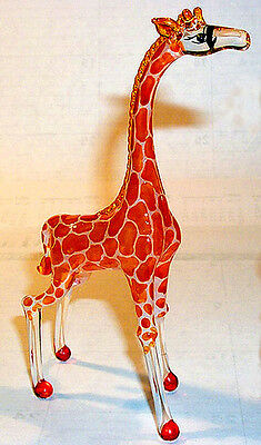 Giraffe LARGEl figurine detailed handpainted ArtGlass African longneck Zoo fav.