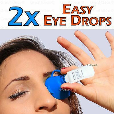Two Pack Easy Eye Drop Dropper Conjunctivitis Saline Medication Rinse Opthalmic