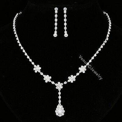 Bridal Wedding Jewelry Prom Rhinestone Crystal Necklace Earrings Set N313