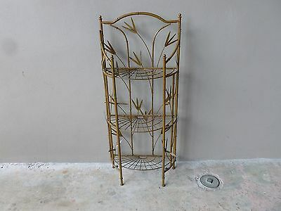 Beautiful Vintage Folding Faux Bamboo Iron Etagere Or 3 Tier Stand