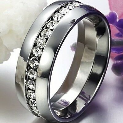 Size 5-15 Titanium Ring Men Women Wedding Stainless Steel Engagement Eternity