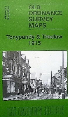 Old Ordnance Survey Maps Tonypandy & Trealaw  Glamorgan Wales 1915  Godfrey Edt