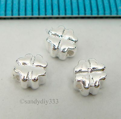 4x BRIGHT STERLING SILVER CLOVER LEAF HEART SPACER BEAD 4.5mm #789