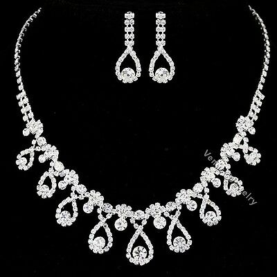 Bridal Wedding Jewelry Prom Rhinestone Crystal Necklace Earrings Set N310