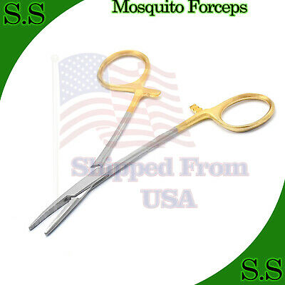 """O.r Grade Mosquito Hemostat Locking Surgical Forcep 5"""" Straight With Gold Handl"""