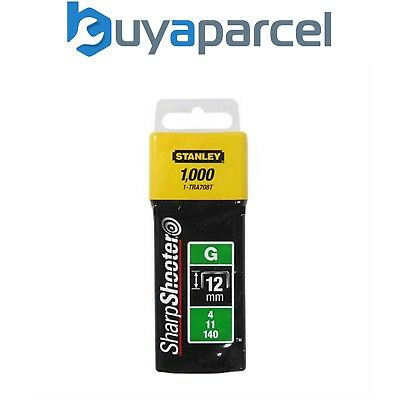 """Stanley 1-TRA708T 1000 x Heavy Duty Staples 12mm 1/2"""" TRA708 Sharpshooter Type G"""