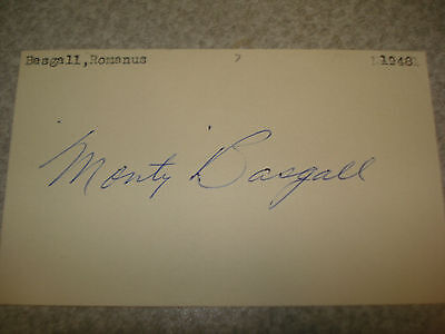 1948 Monty Basgall Autograph Index card 3X5 RARE Vintage Signed Debut Deceased