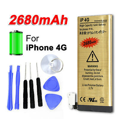 High Capacity Replacement Internal Battery 2680mAh For iPhone 4 4G Tools Kit OZ