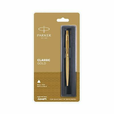 Parker Classic Gold GT Gold Trim Ball Point Pen + Blue Quink Refill + Fine Nib