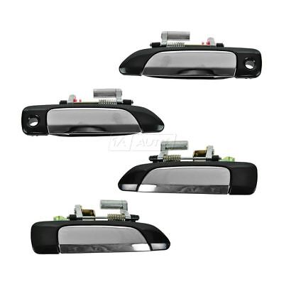 Chrome Exterior Outer Outside Door Handle Set of 4 LF RF for 01-05 Honda Civic
