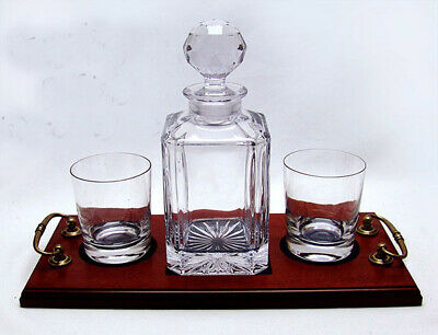 PAIR WHISKY GLASSES DECANTER TRAY SET Lead Crystal Mens Birthday Gift ENGRAVED