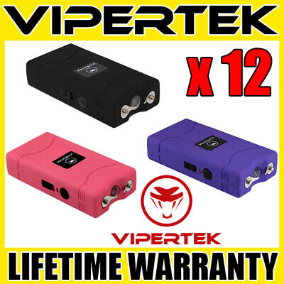 (12) VIPERTEK VTS-880 90 MV Mini Stun Gun 3 Colors Mix - Wholesale Lot