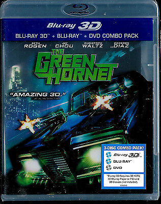 The Green Hornet (Blu-ray/DVD, 2011, 3-Disc Set, 3D/2D) Rogen SEALED BRAND NEW
