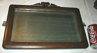 Antique Mission Oak Wood Beveled Art Glass Mirror Vanity Wall Furniture Commode