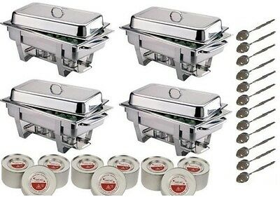 Four Chafing Dishes Complete With Fuel & Spoons **free Next Day Delivery**