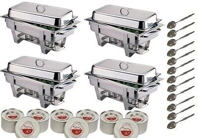 Four Olympia Chafing Dishes Complete With Fuel & Spoons *Free Next Day Delivery*