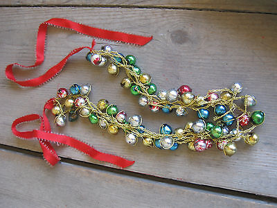 Necklace Christmas Vintage Balls Ornaments Mercury Multicolor Red Ribbon Glass