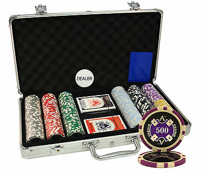 300pcs 14g ACE CASINO LASER POKER CHIPS SET ALUMINUM CASE