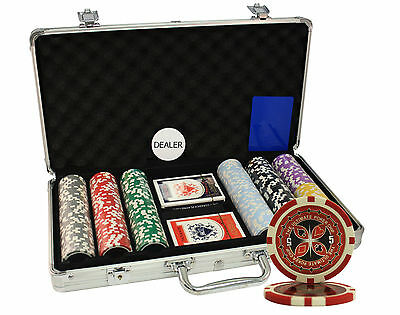 300pcs 14g ULTIMATE CASINO LASER POKER CHIPS SET ALUMINUM CASE