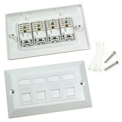 Quad Cat6 Data Wall Outlet Face Plate - 4 Port Rj45 Ethernet Network Socket