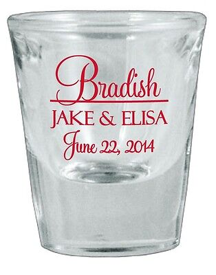 144 PERSONALIZED Glass Wedding Favor Shot Glasses NEW 2014 Designs