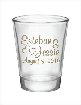 96 Wedding Favors Personalized 1.5oz Glass Shot Glasses NEW 2014 Wedding Designs