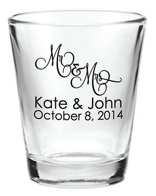 240 Wedding Favors Personalized 1.5oz Glass Shot Glasses NEW 2014 Wedding Design