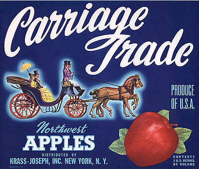 *Original* CARRIAGE TRADE Horse & Buggy NEW YORK Apple Crate Label NOT A COPY!!